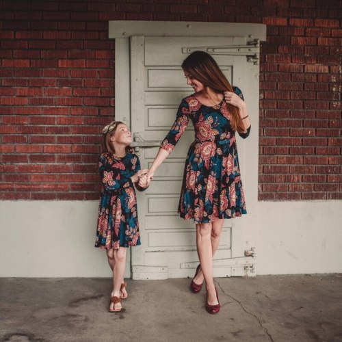 Mother Daughter Dresses Vintage Floral Mommy and Me Matching Outfits