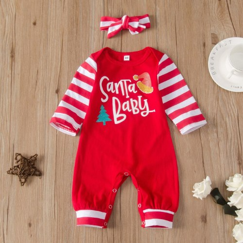 Christmas Baby Clothes Striped Newborn baby Santa Romper Jumpsuit Playsuit Children Xmas Costume Infant Clothing 0-24M