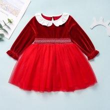 Baby Girls Red Velvet Tutu Dress Christmas Party Princess