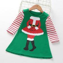Girls Christmas Cartoon Stripe Long Sleeve dress