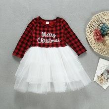Baby Girls Christmas Dress Plaid Romper Tops Tutu Dress