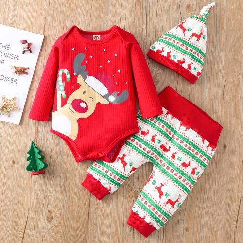 Baby Christmas Set Long Sleeve Romper Pants Hat Clothing Sets