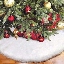 Christmas Tree Skirt Plush Xmas Floor Mat Ornaments Decoration