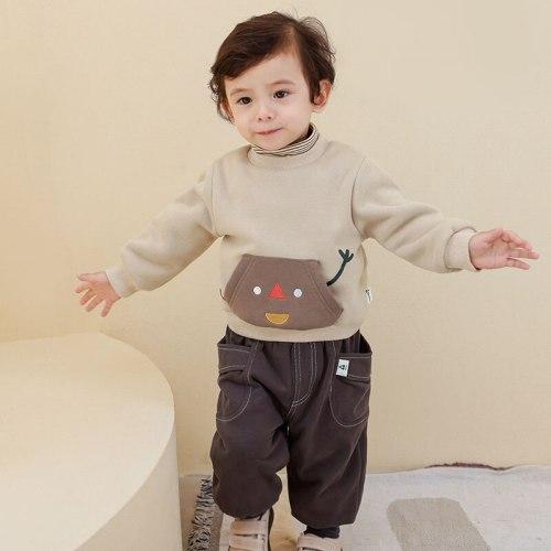 Toddler Boys Long Sleeve T Shirts Baby Boys Velvet Coat
