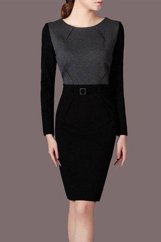 Long-Sleeved Stitching Round Collar Slim Work Office Bodycon Dress