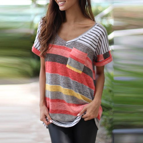 Scoop Neck  Patch Pocket  Striped T-Shirts