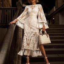 Elegant Lace Inwrought Tassel Bell Sleeve Maxi Dresses