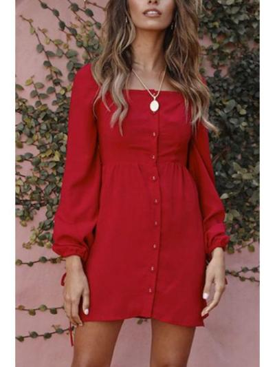 Square Neck Single Breasted Plain Long Sleeve Casual Skater Dresses