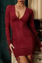 Sexy Deep V Neck Long Sleeved Dress