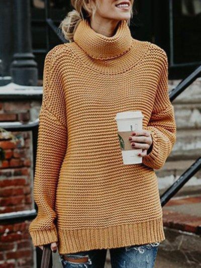 Stylish Solid Color Turtleneck Slit Sweater