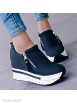 Plain High Heeled Elastic Round Toe Casual Sport Sneakers