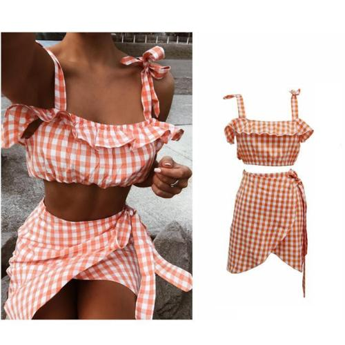 Sexy Beach Plaid Strap Two Piece Suit
