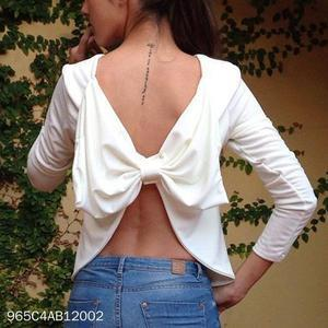 Sexy Backless Long Sleeves Blouse Plain T-Shirt
