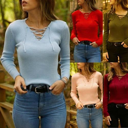 V Neck Lace Up Long Sleeve Knitting T-Shirts