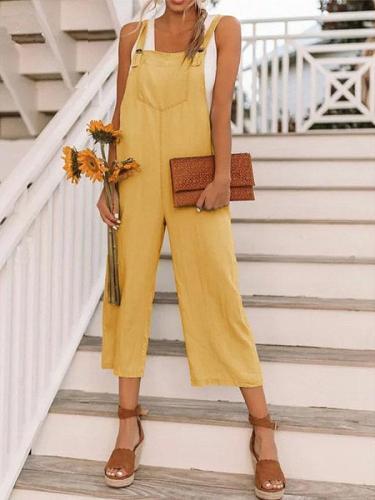 Women's Fashion Nine-Point Belt Casual Jumpsuits