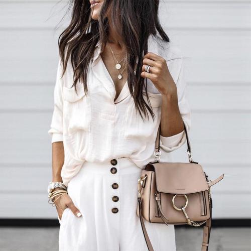 V Neck Long Sleeve Pocket Plain Elegant Blouses