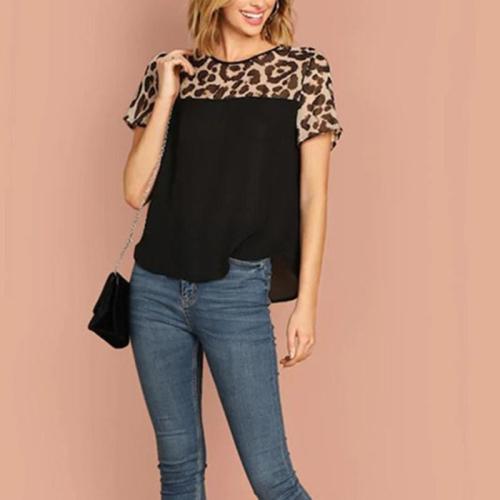 Leopard Print Round Neck Slim Pullover Short Sleeve T-Shirt
