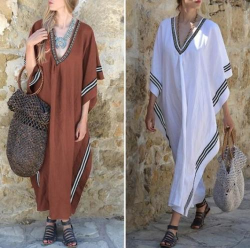 Fashion V Collar Batwing Sleeves Maxi Dresses