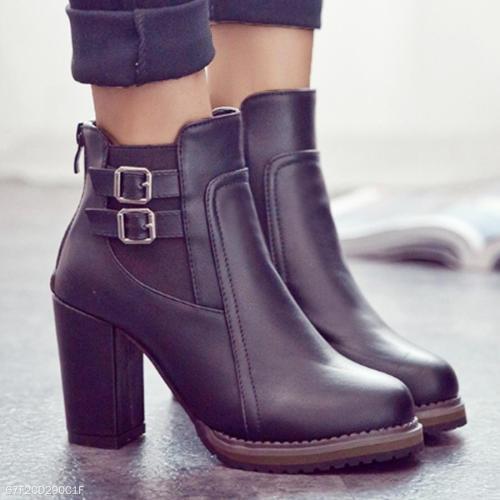 Plain  High Heeled  Round Toe  Date Office High Heels Boots