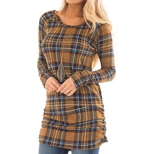 Round  Neck Long Sleeve Plaids Bodycon Dress