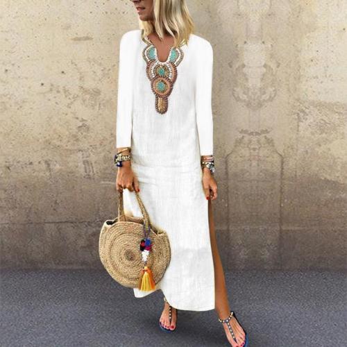 V Neck Long Sleeve Printed Split Casual Dress