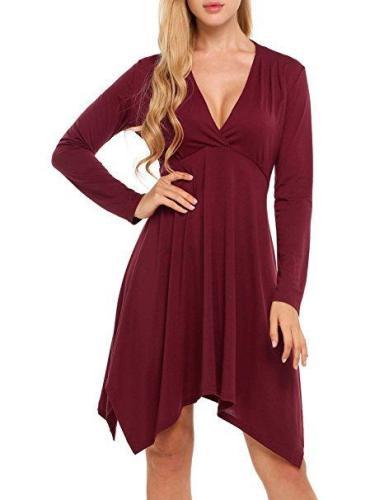 V-Neck Irregular Long-Sleeved Skater Dress