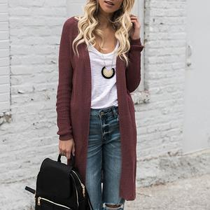 Collarless Snap Front Plain Cardigans