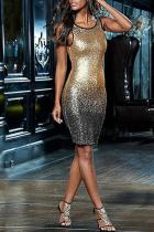 Casual Sexy Sleeveless   Backless Sequins Mini Bodycon Dresses
