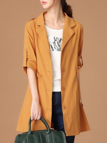 Lapel Drawstring Plain Roll-Up Sleeve Trench Coat