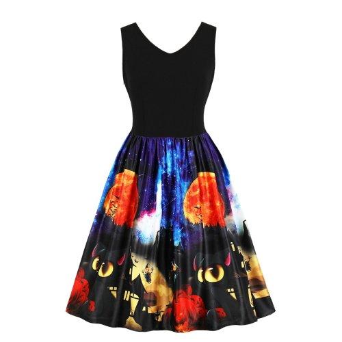 Plus Size Halloween Round Neck Skater Dress