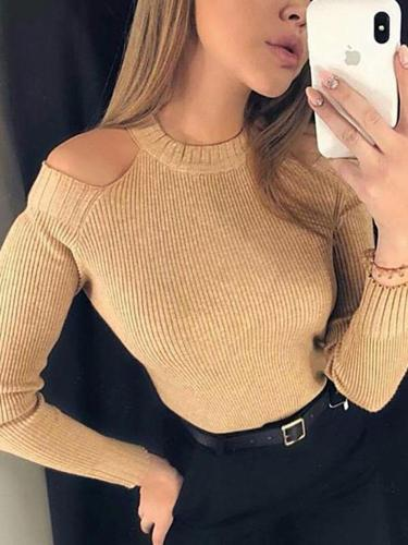 Fashion Sexy Off The   Shoulder Knitted Sweater Blouse