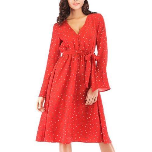 Long-Sleeved V-Neck Dotted Dress