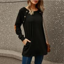 Round Neck Long Sleeve Loose Mid-Length T-Shirt