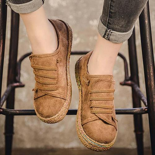 Plus Size Lace Up Round Toe Casual Flat Loafers