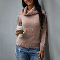Solid Color Long Sleeve High Neck Sweater