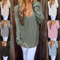 Loose Round Neck Long Sleeve Plain Knitting Sweaters