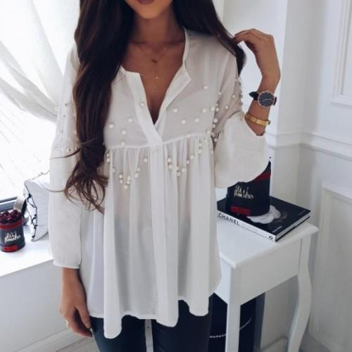 Fashion Business Casual Loose Plain V Collar Long Sleeve Blouse