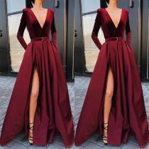 Fashion Sexy Deep V Collar Long Sleeves Fork Plain Maxi Dress