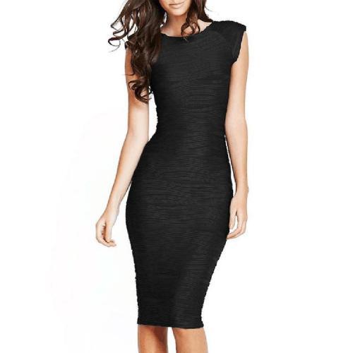 Deep V Collar Elastic Stripe Bodycon Dress