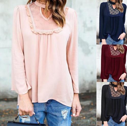 Lace-Paneled Long-Sleeved Blouses