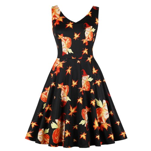 Halloween Plus Size Sleeve Less Magic Skater Dress