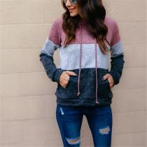 Fashion Three Color Stitched Long Sleeved Hoodie Blouse