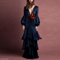 Elegant Noble Slim Plain Deep V Collar Puff Long Sleeve Ruffled Hem Evening Dress