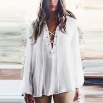 Deep V Neck Lace Up Plain Blouses
