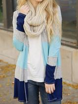 Collarless Colouring Striped Long Sleeve Cardigans