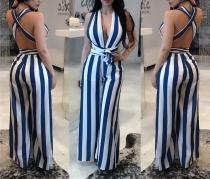 Sexy Deep V Sleeveless Striped Jumpsuit