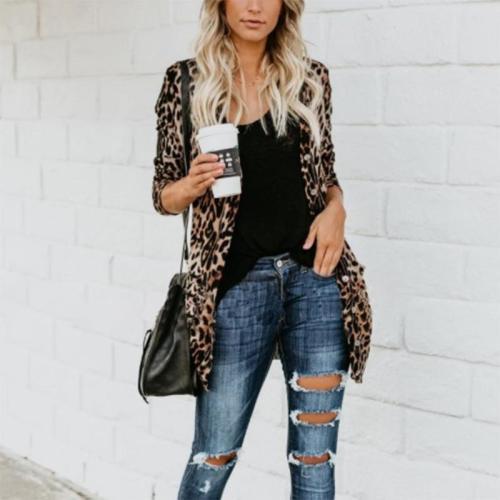 Long And Medium Leopard Loose Cardigan