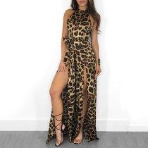 Sexy Chic Slim Leopard Print Sleeveless Halter Fork Evening Dress