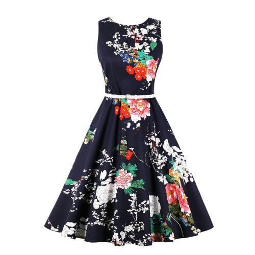 Floral Printed Sleeve less Belt Skater Dress