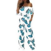 Short Sleeves Off Shoulder Floral Print Jumpsuits